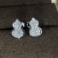 Arrival Sparkling Luxury Jewelry 925 Sterling Silver Pave White Sapphire CZ Diamond Crystal Gourd Women Stud Earring Gift DFF3359