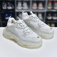 Top Quality Mens Womens Paris Casual Zapatos Triple S Clear Sole Trainers Papá Zapatillas Zapatillas Zapatillas de deporte Blanco Blanco Blanco Corrientes Chaussures