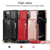 Shockproof Phone Cases for iPhone 12 11 Pro Max X XS XR 7 8 Samsung Galaxy S21 S20 Note20 Ultra Note10 S10 Plus Multi Cards Zipper Coin Purse PU Leather Stand Cover