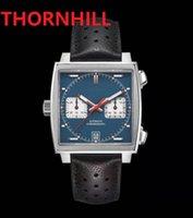 Square Dial Designer Mens Watch 40mm Leather Strap Quartz Chronograph Blue Gulf Racing Sapphire Special Edition High Strength Glass President Wristwatch Reloj