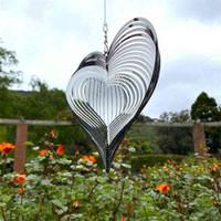 Dekorative Gegenstände Figuren Stereo Rotary Wind Chime Spinner Beating Heart 3D Flowing Light Effekt Dekor Kirche Garten Porch Balkon Hängen G77MFZ0