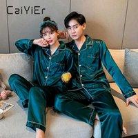Caiiier Новые влюбленные шелковые пижамы набор сплошной с длинным рукавом повседневные спящие одежды зимняя пара ночные мужские мужчины женщины Loungewear M-3XL Y1006