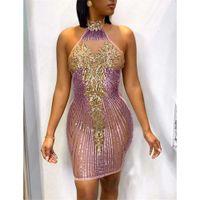 Lentejuelas vestidos de diseño con paneles vestidos sexy halter raya patrón sin espalda mujeres vestidos de noche casual hembras ropa