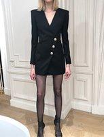 Nuovi Designer Design Dress Dresses V Collo a V Snow Syless Leone Head Golden Button Broad-Breasted Femmina Alta Qualità Milano SIM Blazer Dress E36
