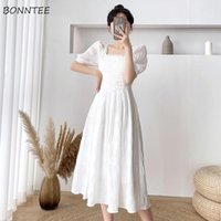 Casual Dresses Women Lace Folds A-line Puff Sleeve Solid Kawaii Student Lovely Girls Elegant Tender Fashion Classy Square Collar
