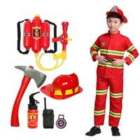 2021 Halloween Cosplay Kids Firefighter Uniform Children Sam Fireman Role Work Clothing Suit Boy Girl Performance Party Costumes Q0910