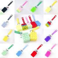 Fidget Toys Keychain Sensory Fashion Makeup Coin Purse Keyring Push Bubble Rainbow Anti Stress Educational Decompression Toy