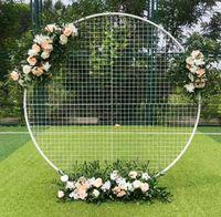 Grid Metal Circler Circle Round Arch Balloon Balloon Flower Iron Anello Sfondo Arco Telaio Stand Matrimonio Mariage Festa di compleanno Fondo Decorazione