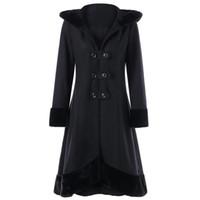 2021 New Fashion Gothic Vintage Mid-long Trench Coat Women Black Slim Belt Cloak Mujer Windbreaker Female Abrigos Brazil#J30 DE2W