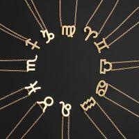 الأسهم الأمريكية الساخنة 12 زودياك القلائد مع بطاقة هدية كوكبة علامة قلادة سلاسل فضية قلادة للرجال النساء الأزياء والمجوهرات بكميات كبيرة