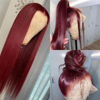Nouveau # 613 bleu / rose / violet / jaune / rouge coloré brésilien dentelle droite perruque avant Perruque de cheveux synthétique en dentelle prémousée pour femmes
