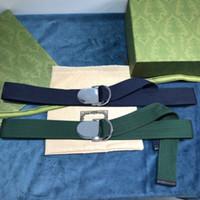 Clássico Soft Green / Blue Canvas Homens Cintos de Moda Melhor Qualidade Verde Web Web Cinto Com Caixa Men Protetores de cintos 0189