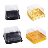Cadeau cadeau 50pcs 63 / 100g Square Moon Cake Plateaux Noir / Gold MoonCake Boîte de conteneur Porte-conteneur Mid-Automne Festival