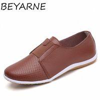 Beyarne Sommer Frauen schneiden Sneakers frau Echtes Leder Müßiggänger Frau Schuhe Niedrige Fersen Frauen Weiße flache Schuhe Damen Oxfords W60e #