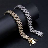 14mm 7 / 8nucch Düz Kenar Elmas Küba Link Zinciri Bilezik Altın Gümüş Buzlu Out Kübik Zirkonya Hiphop Erkekler Takı