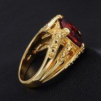 Boyutu 9, Zamansız erkek Büyük Kırmızı Garnet Kristal Taş 18 K Sarı Altın Dolu Yüzük Düğün Hediyesi