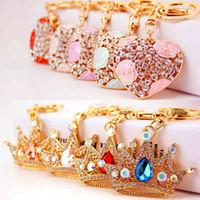 Encantador corazón rosado llaveros dulces llaveros cristal bolsa colgante cadenas soporte anillos para la sala de automóvil llavero regalo5ibb