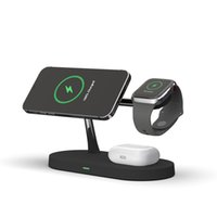 5 in 1 wireless charger Magnetic Phone Holder 15w fast charging Dock Station QI with LED lamp