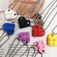 2PCS Beads Building Brick Heart Necklace for Women Men Love Couple Valentine's Gifts Punk Girlfriend Necklaces Jewelry