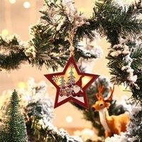 لوازم الحزب عيد الميلاد غابة حمراء كبار السن قلادة مضيئة خشبية Xmax شجرة الحلي جولة خمسة أشار النجوم المعلقات DWF8277