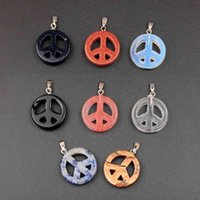 12 unids / lote mezcla color de mezcla piedra de rhodonita signo de paz navidad 22 mm joyería colgantes DIY hallazgo para el collar de pulsera encantos