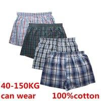 Men's Sleepwear 4Pcs Boxer Men Underwear Cotton Man Short Breathable Plaid Woven Shorts Male Underpants Plus Size Pajamas Sleep Bottoms