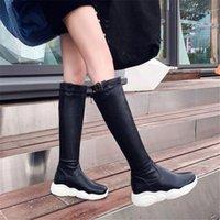 Poxelena zapatos 2020 otoño invierno plata plataforma plana rodilla alta botas mujeres suave confort trasero cremallera punk gótico caballo caballero botas largas Footwe Z5FD #