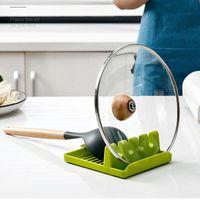 Mutfak Eşyası Dinlenme Kaşık Pot Pan Kapak Tencere Kürek Tutucu Araçları Gıda Sınıfı Plastik Raf Gri ve Yeşil FHL151-ZWL656