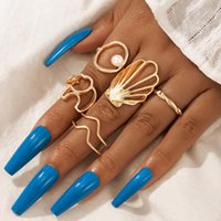 Wedding Rings HuaTang Charming Pearl Shell Elephant Sets For Women Boho Gold Color Alloy Hollow Geometric Trendy Jewelry 5pcs set