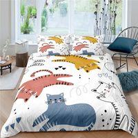 Bedding Sets Luxury 3D Cartoon Animals Print 2 3Pcs Kids Set Comfortable Duvet Cover Pillowcase Home Textile Queen And King Size
