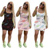Vestido de verano para mujer Diseñador de moda U-cuello para mujer Casual letra de letra impresión Vestidos sin mangas Vestido Vestido Vestido Slim Falda corta 814