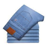 Men's Jeans Classic Style Spring Summer Thin Advanced Stretch Denim Straight Trousers Male Brand Pants Plus Size 42 44 46,1901-2