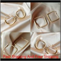 Geometrie Große quadratische Form Ohrringe S925 Silber Nadel Dame Ohrstecker Aushöhlen Einfachheit Ohrring Mode Zubehör 2 73LYA P2 ICTE WIMU0