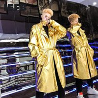 Men's Trench Coats IEFB Men Bright Color Windbreaker Gold And Silver Streetwear Mid Length PU Leather 2021 Autumn Long Coat With Belt