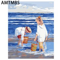 Dipinti Amtmbs Painting by Numbers Art Paint Number Pigment Pigment Blue Seaside Bambini Giocare sulla spiaggia Tela dipinta a mano