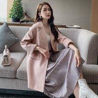 Women's Wool & Blends Autumn Winter Turn-down Collar Long Coat Women 2021 Solid Pink Belt Woolen Ladies Wollen Coats