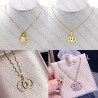 Top Gold Halskette C Briefdesigner Halskette Designer Schmuck Kristall Diamant Anhänger Halsketten Frauen Halsketten Bankett Geschenk Beste Qualität