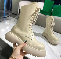 women boots DYMALNOTPY 2021ss PUDDLE TIRE Bottega BOUNCE Storm Real leather shoes martin lace-up Bulky rounded toe Platform