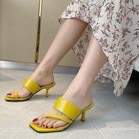 Тапочки Manlegu 2021 квадратный TOE тонкий высокий каблук летом на открытом воздухе на платье обувь дамы элегантные слайды сандалии 39