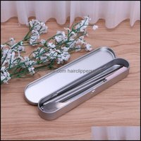 Cases Bags Supplies Business & Industrialdrop Ship&Wholesale Sier Tin Pencil Case Pen Storage Box Stationery Organizer School Office Use Apr