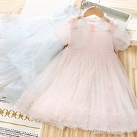 2021 Nuove neonate Sequin Tulle Tutu Dress Summer Kids Bowknot Pulvel Sleeve Sleeve Garza Dress Vestito Bambini Beaded Party Dress Party C6883