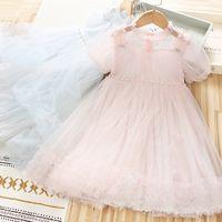 2021 Neue Baby Mädchen Pailletten Tüll Tutu Kleid Sommer Kinder Bowknot Perle Puff Sleeve Gaze Groinische Kleid Kinder Perlen Party Kleid C6883