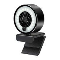 HD 2K Webcam USB Auto-Focus 5MP PC Web Camera 1080p com Anel Fill Light Microfone para PC Portátil Videoconferência Camera