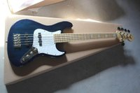 2014 Top Quality 5 String Neck Neck FL Jazz Bass Stripe Blu Dark Blue Bass Chitarra in magazzino