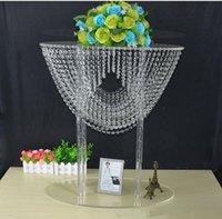 """80 cm (31 """") glänzende ovale Form Kristall Acryl Party Dekoration Perlen Hochzeit Mittelstücke Blumenständer Tischdekor für Ereignis"""