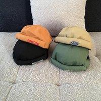 ビーニーCSBLヴィンテージ廃止ドッカーキャップビーニーカフ帽子ソリッドカラーレター刺繍調整可能なヒップホップストリートスカルキャップ6パネル