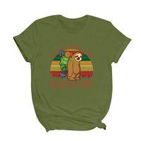 Летние женские футболки мода классический ленивец туризм печать с коротким рукавом повседневная свободная высококачественная одежда