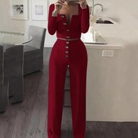 Moda Kadın Setleri Kadınlar Moda Uzun Kollu Hırka Ince Vücut Düğmesi Rahat Suit Giyim Damla Nakliye
