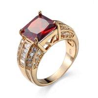 Anelli Garnet Red Zircone Gioielli per uomo e donna Matrimonio