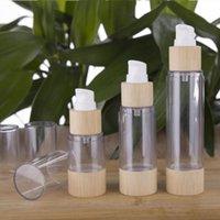 Speicherflaschen Gläser Umweltfreundliche Bambus 20ml 30ml 50ml 80 ml 100ml 120ml Leerer Airless Vakuumpumpe für Make-up-Sahne Serumlotion Hautpflege